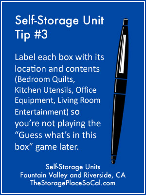Self-Storage Tip 3: Label each box with its location and contents.