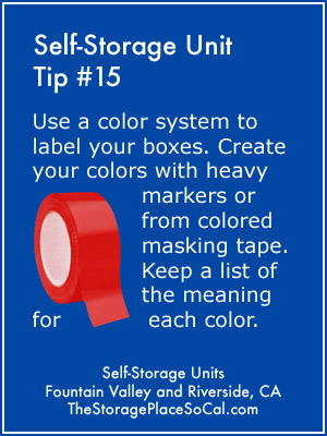 Self-Storage Tip 15: Use a color system to label your boxes.
