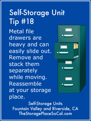 Self-Storage Tip 18: Remove metal file drawers.